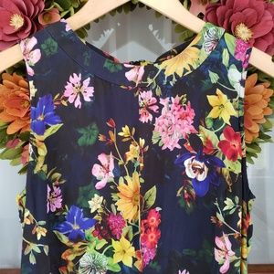 Banana Republic Silk Floral Peplum Blouse